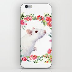 White Rat with Flowers Watercolor Floral Pattern Animal iPhone & iPod Skin