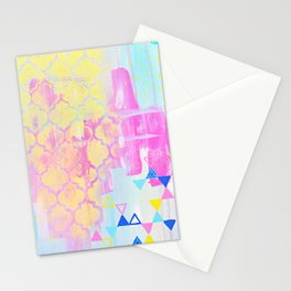 Abstract Mix - Lemon Yellow, Magenta & Turquoise Stationery Cards