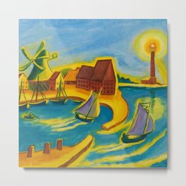 Lighthouse and Sailboats in a Blue Harbor landscape painting by Hermann Max Pechstein Metal Print
