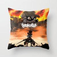 attack on titan Throw Pillows featuring A Quack on Titan by ADobson