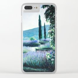Lavender flower garden oil painting Clear iPhone Case