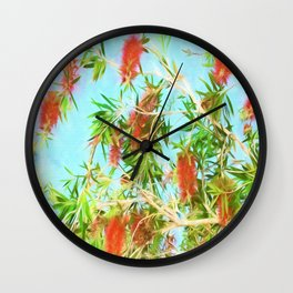 Tropical Bottle Brush Flowers In Florida Wall Clock