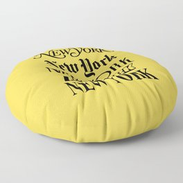 New York City Yellow Taxi and Black Typography Poster NYC Floor Pillow