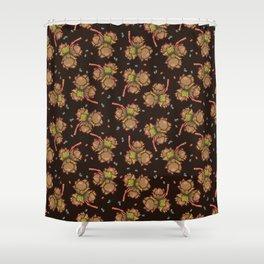 Dark hazelnuts pattern Shower Curtain