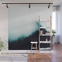 Misty Pine Forest Turquoise Teal Watercolor Fog Minimalist Modern Landscape Photography Wall Mural