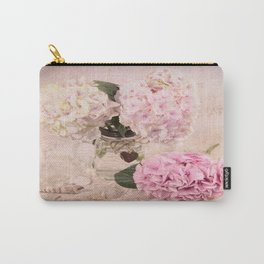 Pink Hydrangeas With Sea Shells Carry-All Pouch
