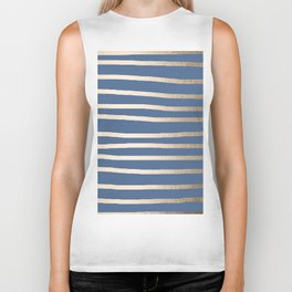 Simply Drawn Stripes White Gold Sands on Aegean Blue Biker Tank