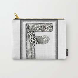 Zentangle F Monogram Alphabet Illustration Carry-All Pouch