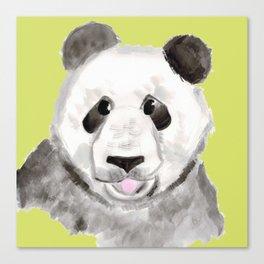 Panda, Lime Green Canvas Print