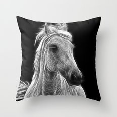 enegetic white horse Throw Pillow