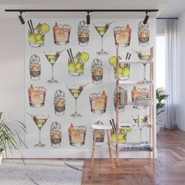 Fun Watercolor Drinks Pattern- Party Time Wall Mural