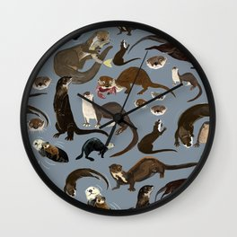 Otters of the World pattern in grey Wall Clock