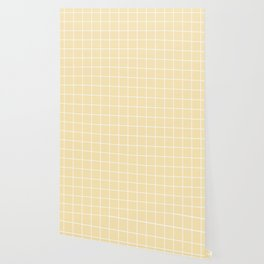 Banana Mania - pink color - White Lines Grid Pattern Wallpaper