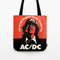 acdc Tote Bags featuring Ac/Dc angus young by aceofspades81