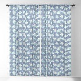 Ginkgo in Blues on Blue Pattern Sheer Curtain