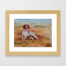 POINTING DOG German Pointer in the field Framed Art Print
