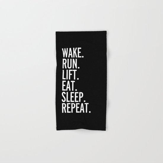 Run, Sleep, Repeat Gym Quote Hand & Bath Towel