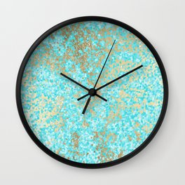 Abstract teal white faux gold modern pattern Wall Clock