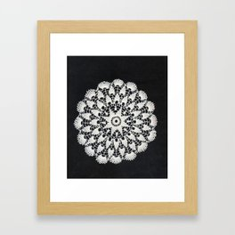 beige black lace Framed Art Print