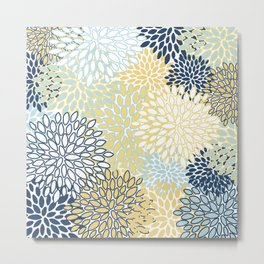 Floral Prints, Yellow and Blue, Abstract Art Metal Print