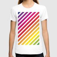 striped T-shirts featuring Striped Rainbow by Stephanie Keyes Design