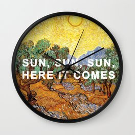 Here Comes the Yellow Sky and Sun Wall Clock