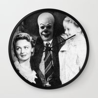 pennywise Wall Clocks featuring PENNYWISE IN A WONDERFUL LIFE by Luigi Tarini
