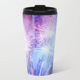 Blue and pink fireworks Travel Mug