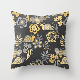 Snails, Bees & Wildflowers Throw Pillow