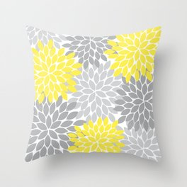 Yellow Gray Flower Burst Petals Floral Pattern Throw Pillow