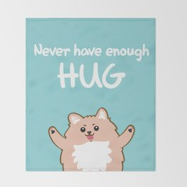 Hug Pomeranian Throw Blanket