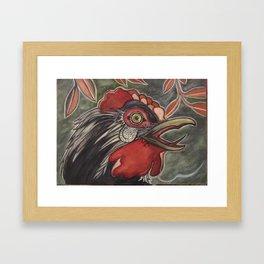 Black Rooster Crows Framed Art Print