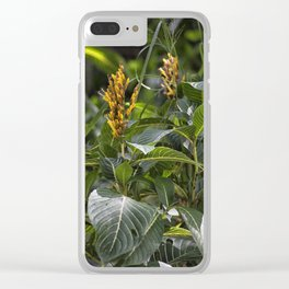 Yellow flower in the rain forest Clear iPhone Case