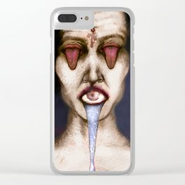 Tongue and eyes Clear iPhone Case