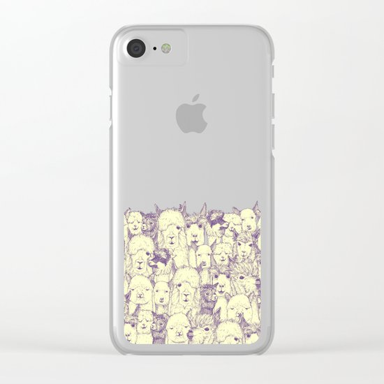 just alpacas purple cream Clear iPhone Case