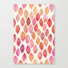 Watercolor Leaf Pattern in Autumn Colors Canvas Print
