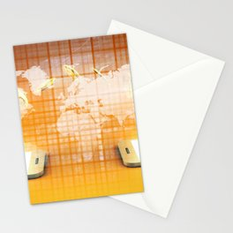 Mobile Payment and Transfer of Cash Concept Stationery Cards