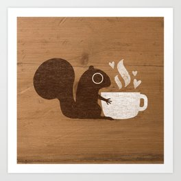 Squirrel Coffee Lover Art Print
