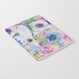 Abstract French bulldog floral watercolor paint Notebook