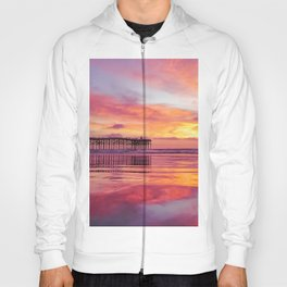 Pink, Blue & Orange Sunset with Low Tide Ocean Water Reflection Hoody