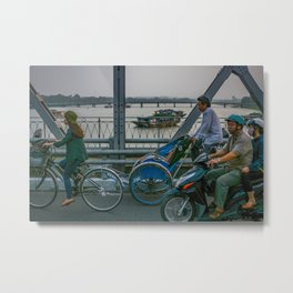 Commuters in Hue Metal Print