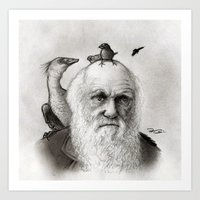 darwin Art Prints featuring Darwin by Doodle of Boredom