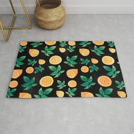 Trendy Yellow Lemon Fruit & Leaves Black Pattern Rug