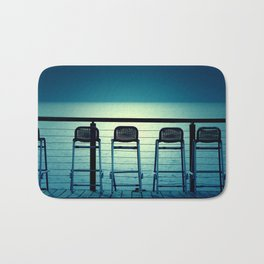 Blue Bar Stools Bath Mat
