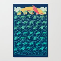 Squid on the waves Canvas Print