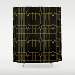 Parisienne Elegant Gold and Black Art Deco Pattern Shower Curtain
