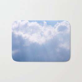 Blue Sky and White Clouds with Light Beams Photography Bath Mat