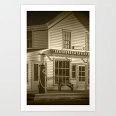 Vintage Gasoline Pump Red Crown in Sepia at Glen Haven Michigan Art Print