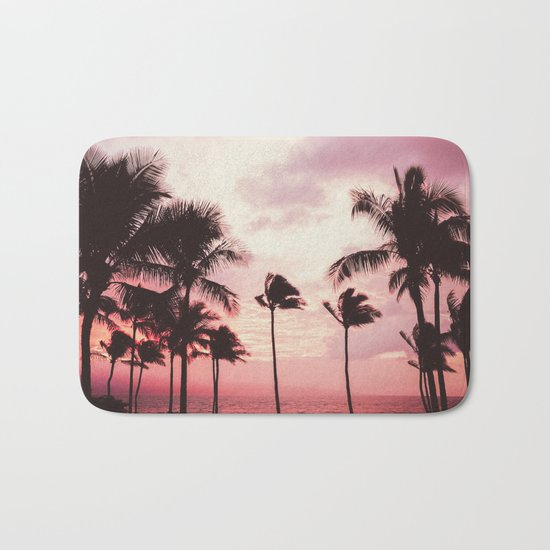 Tropical Palm Tree Pink Sunset Bath Mat