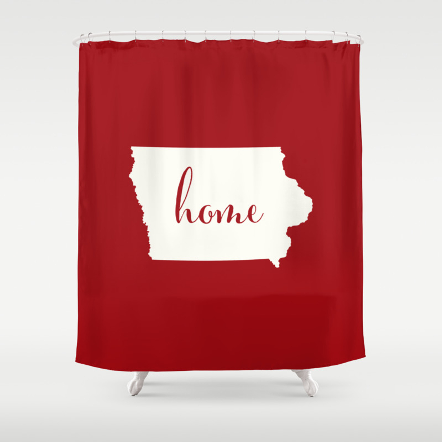 Iowa Is Home Red On White Shower Curtain